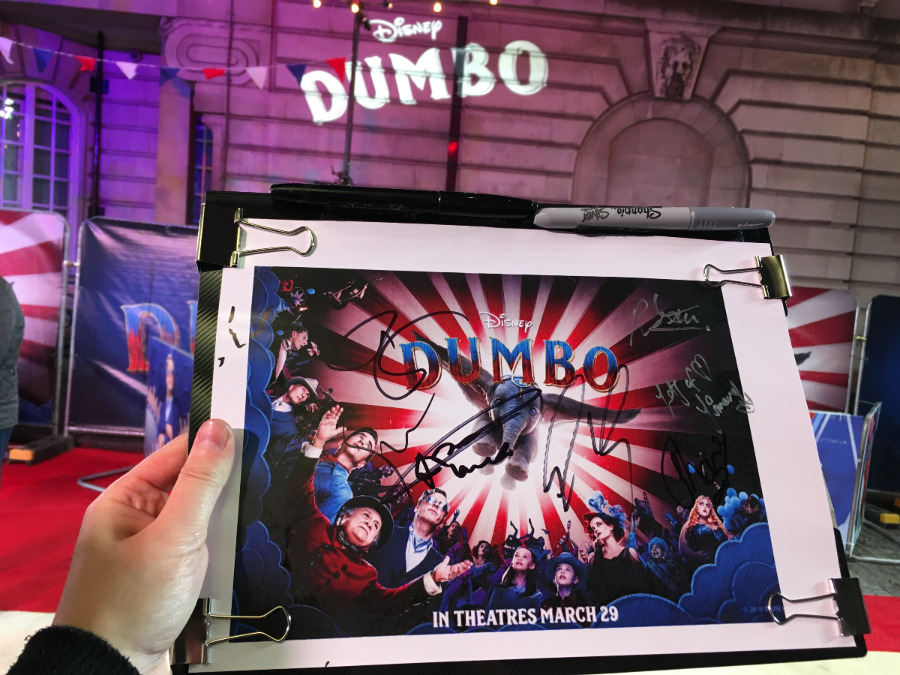 Autographs from Dumbo London Premiere