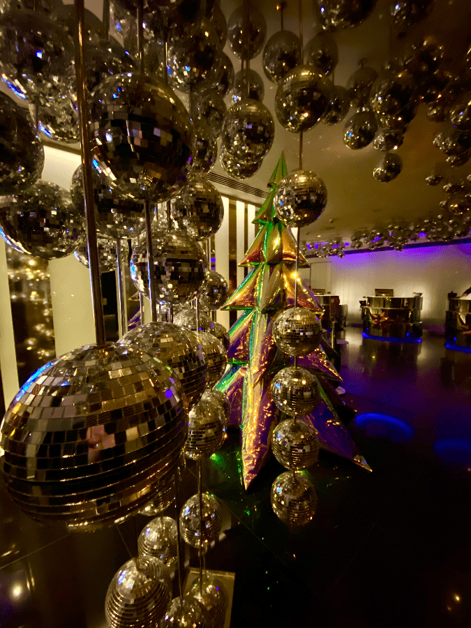 Extravagant Inflatable Christmas tree and Disco Balls at W Hotel