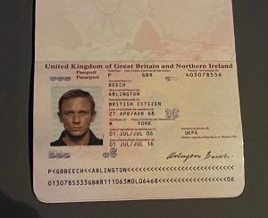Driving licences and passport of two iconic James Bonds Daniel Craig