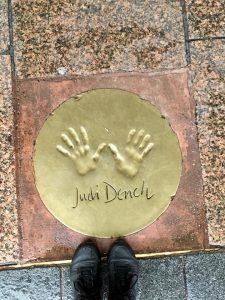 Judy Dench's hand print London