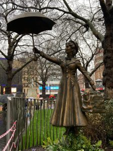 Mary Poppins landed to celebrate a century of cinema at Leicester Square