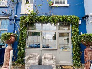 Blue floral building