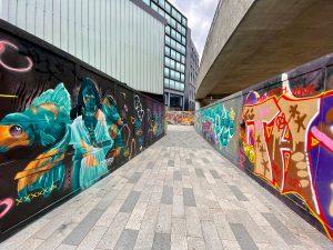 Colourful graffiti walls Shoreditch
