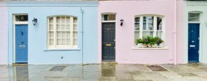 Cute colourful terraced houses