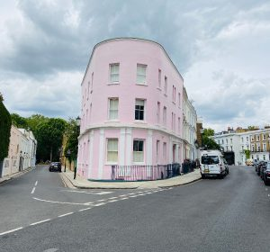 Dreamy pink building on the corner of Pottery Lane