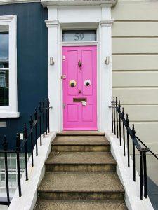 Google-eyed pink door Holland Park
