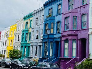 Rainbow coloured Portobello Road London